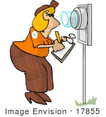 #17855 Woman Worker Checking An Electric Meter Reading Clipart