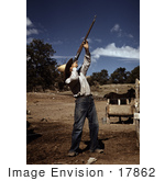 #17862 Photo Of A Male Homesteader Shooting Hawks After They Preyed On His Chicken