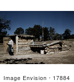 #17884 Photo Of A Farmer With His Dugout Home In Pie Town New Mexico