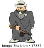 #17887 Gangster Man Holding a Machine Gun Clipart by DJArt