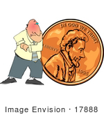 #17888 Cheapo Penny Pusher Man Clipart