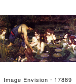 #17889 Picture of a Man With Nude Women at a Pond, Hylas and the Nymphs, by John William Waterhouse by JVPD