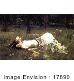 #17890 Picture Of A Woman Lying In Wildflowers Ophelia By John William Waterhouse
