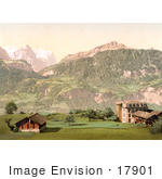 #17901 Picture Of The Hotel Alpbach Near Well And Wetterhorn Mountains Swiss Alps Bernese Oberland Switzerland