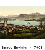 #17903 Picture Of The Lucerne Village On The Lakefront Switzerland