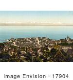 #17904 Picture Of The City Of Neuchatel On Neuchatel Lake Swiss Alps Switzerland