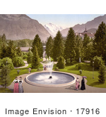 #17916 Picture Of Ladies Walking Around A Water Fountain Interlaken Kursall Bernese Oberland Switzerland
