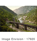 #17920 Picture Of St Gotthard Railway Through The Village Of Giornico In Switzerland