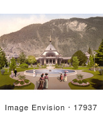 #17937 Picture Of People Strolling Around A Water Fountain Interlaken Kursall Bernese Oberland Switzerland