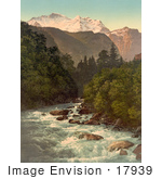 #17939 Picture Of Jungfrau Mountain And The Lutschine River Lauterbrunnen Valley Switzerland