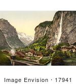 #17941 Picture Of Staubbach Waterfalls Over Lauterbrunnen Valley Switzerland
