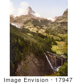 #17947 Picture Of Findelenbach Bridge With Matterhorn Mountain Valais Switzerland