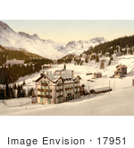 #17951 Picture Of Hotel Buildings In Snow In The Village Of Arosa Grisons Switzerland