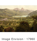#17960 Picture Of The City Of Goldau Mountains Kleiner Mythen And Haggenspitz And Lake Lucerne Switzerland