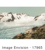 #17965 Picture Of Two Men On A Cliff By Concordia Hut Viewing The Swiss Alps Mountains Switzerland