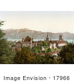#17966 Picture Of The City Of Lausanne On Geneva Lake With A View Of The French Alps Mountains Switzerland