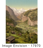 #17970 Picture of Staubbach Falls in Lauterbrunnen Valley and Breithorn Mountain From Wengen, Switzerland by JVPD