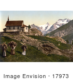 #17973 Picture Of Children With Baskets Of Firewood Near A Church Saas Fee Near Rimpfischhorn Mountain Valais Switzerland