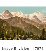 #17974 Picture Of Schynige Platte With Mountains Eiger Monch And Jungfrau Bernese Oberland Switzerland