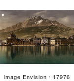 #17976 Picture Of The Village Of Lucerne At Night Reflecting In Water Switzerland