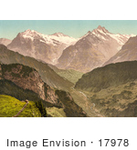 #17978 Picture Of Wetterhorn And Schreckhorn Mountains As Seen From Schynige Platte Bernese Oberland Switzerland
