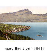 #18011 Picture Of A Steamboat Near A Village On Lake Lucerne Beckenreid Switzerland