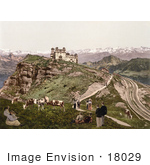 #18029 Picture Of People And Cows Near A Hotel Surrounded By Alps Mountains Kulm Liechtenstein Rigi Switzerland