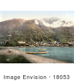 #18053 Picture Of A Man With A Boat Viewing Locarno On Lake Maggiore Ticino Tessin Switzerland