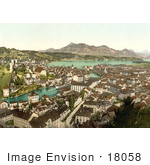 #18058 Picture Of The City Of Lucerne On Lake Lauerz And Rigi Mountain Switzerland
