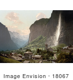 #18067 Picture Of Jungfrau Mountain Staubbach Waterfalls And Village Of Lauterbrunnen Switzerland