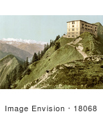 #18068 Picture Of A Hotel On A Hill With A View Of Oberland Alps Mountains Rigi Switzerland