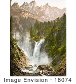 #18074 Picture Of A Waterfall Rosenlaui Weissbach And Englehorner Bernese Oberland Switzerland
