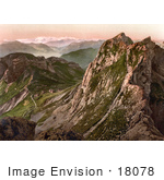 #18078 Picture Of The Steep Tomlishorn Path In The Oberland Alps View Of Pilatus Mountain Switzerland