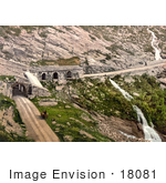 #18081 Picture Of Waterfalls Tunnel And Horse Drawn Carriage At Simplon Pass Switzerland