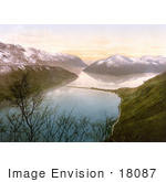 #18087 Picture Of A Road And Melide Dam Along Lake Lugano Tessin Switzerland