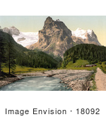 #18092 Picture Of Wetterhorn Mountain Rosenlaui Bernese Oberland Switzerland