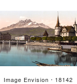 #18142 Photo Of The Bridge And Tower At Schwanenplatz Lucerne Switzerland