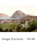 #18149 Photo Of Mont San Salvatore And The City Of Lugano On Lake Lugano In Ticino Tessin Switzerland
