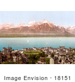 #18151 Photo Of The Savoy Mountains Sailboats And Montreux Geneva Lake Switzerland
