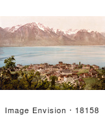 #18158 Photo Of The Village Of Montreux And The Savoy Mountains On Geneva Lake Switzerland