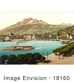 #18160 Photo Of A Steamboat Near The Railway Station In Lucerne Switzerland