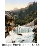 #18166 Photo Of A Building By A Waterfall Tarasp Lower Engadine Grisons Switzerland