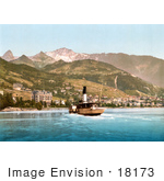 #18173 Photo Of A Boat Near The Villages Of Montreux And Glion On Geneva Lake In Switzerland