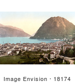#18174 Photo Of The City Of Lugano On The Shore Of Lake Lugano In Ticino Tessin Switzerland