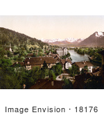 #18176 Photo Of The Village Of Thun On Aare River Bernese Oberland Switzerland
