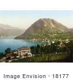 #18177 Photo Of Mont San Salvatore And Paradiso On Lugano Lake In Tessin Switzerland