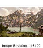 #18195 Photo Of Buildings Overlooking Oeschinen Lake Bernese Oberland Switzerland