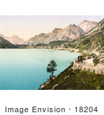 #18204 Photo Of The Village Of Maloja On Lake Sils Upper Engadine Grisons Switzerland