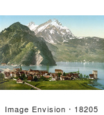 #18205 Photo Of The Village Of Stanstaad On Lake Lucerne With A View Of Pilatus Mountain Switzerland