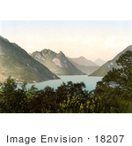 #18207 Photo Of The Village Of Porlezza From Across Lugano Lake Tessin Switzerland